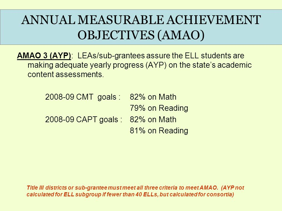 AMAO 3 (AYP): LEAs/sub-grantees assure the ELL students are making adequate yearly progress (AYP) on the state's academic content assessments.