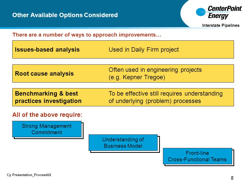 8 Cy Presentation_ProcessV2 Interstate Pipelines Other Available Options Considered There are a number of ways to approach improvements… To be effective still requires understanding of underlying (problem) processes Benchmarking & best practices investigation Often used in engineering projects (e.g.