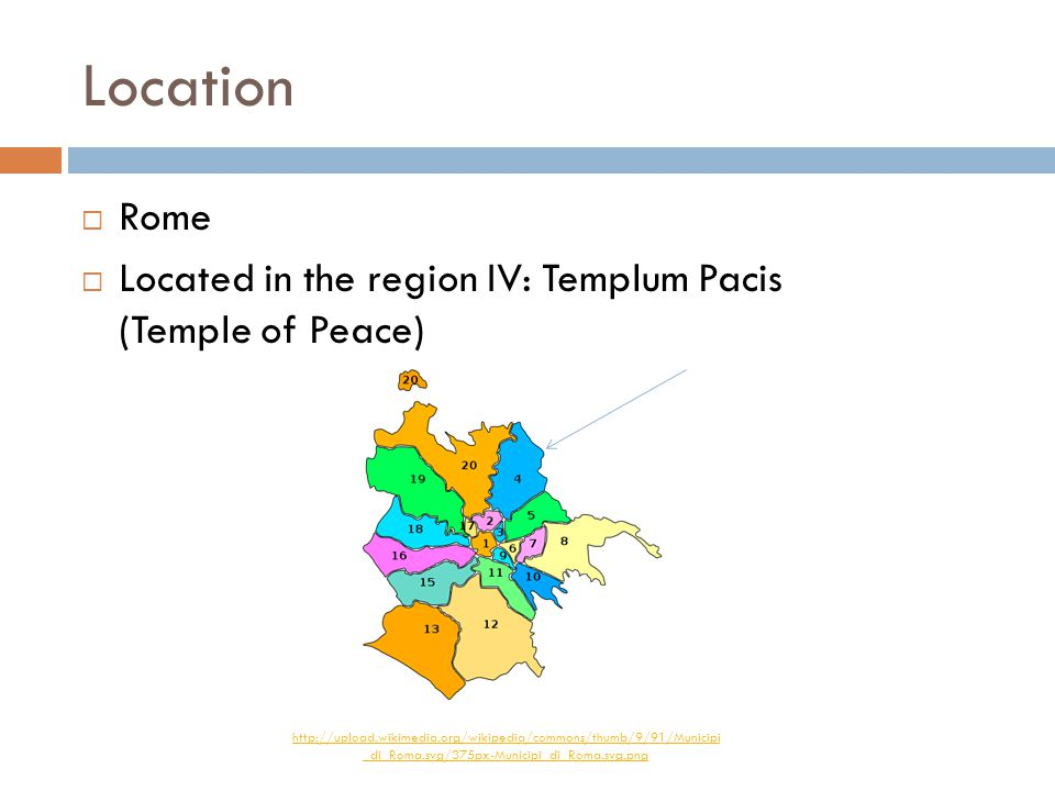 Location  Rome  Located in the region IV: Templum Pacis (Temple of Peace) http://upload.wikimedia.org/wikipedia/commons/thumb/9/91/Municipi _di_Roma