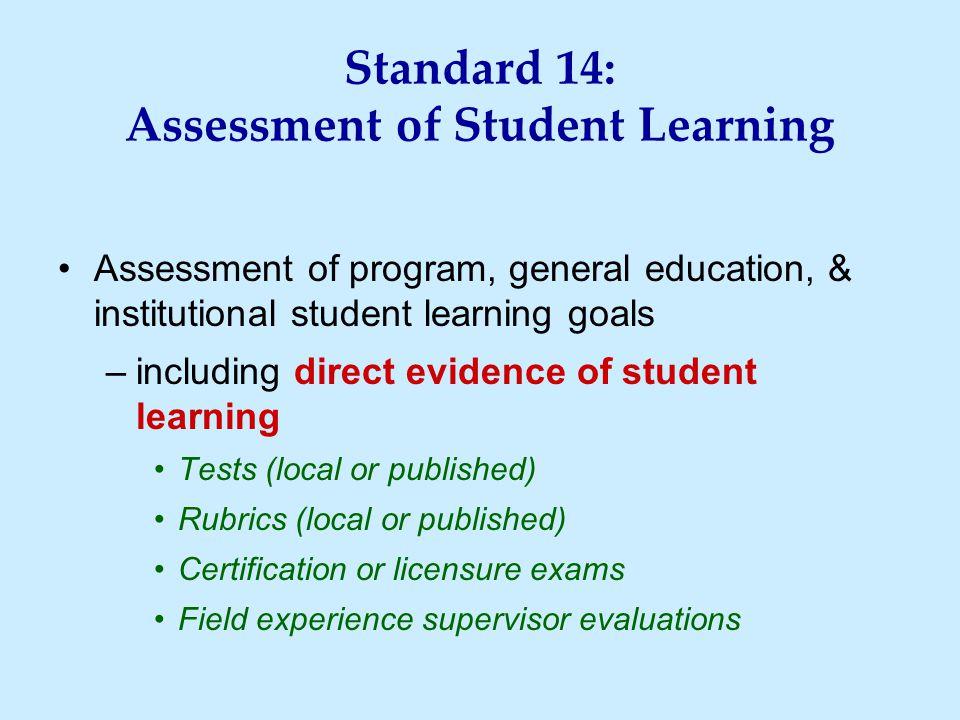 Standard 14: Assessment of Student Learning Assessment of program, general education, & institutional student learning goals –including direct evidenc