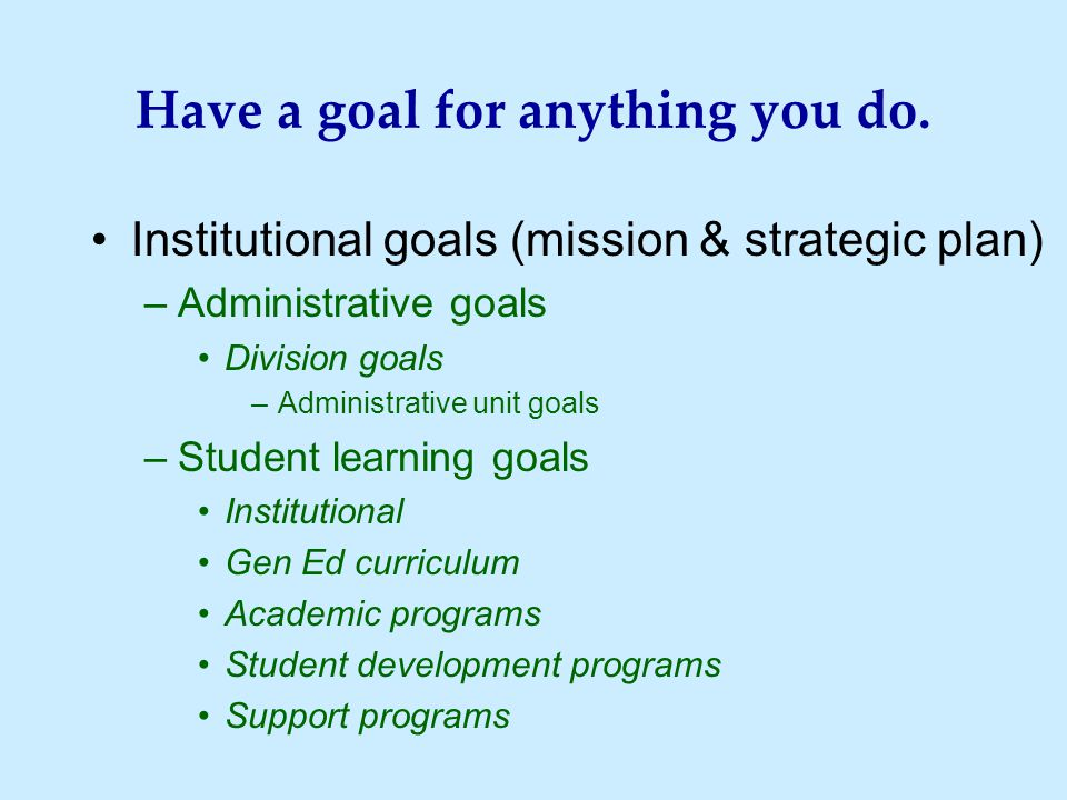 Have a goal for anything you do.