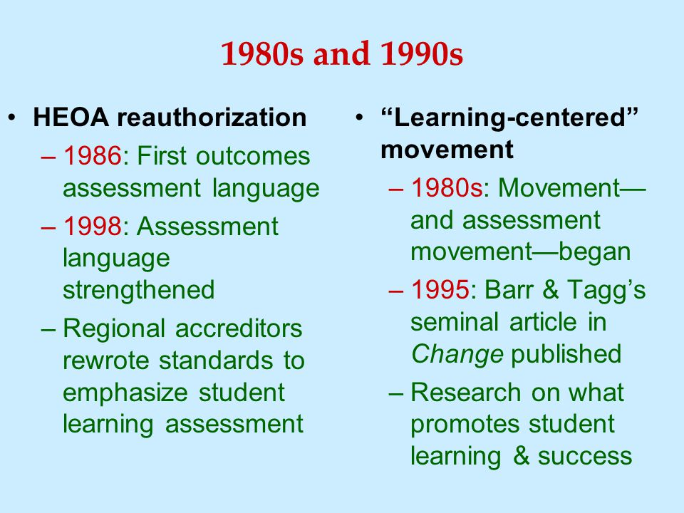 1980s and 1990s HEOA reauthorization –1986: First outcomes assessment language –1998: Assessment language strengthened –Regional accreditors rewrote standards to emphasize student learning assessment Learning-centered movement –1980s: Movement— and assessment movement—began –1995: Barr & Tagg's seminal article in Change published –Research on what promotes student learning & success