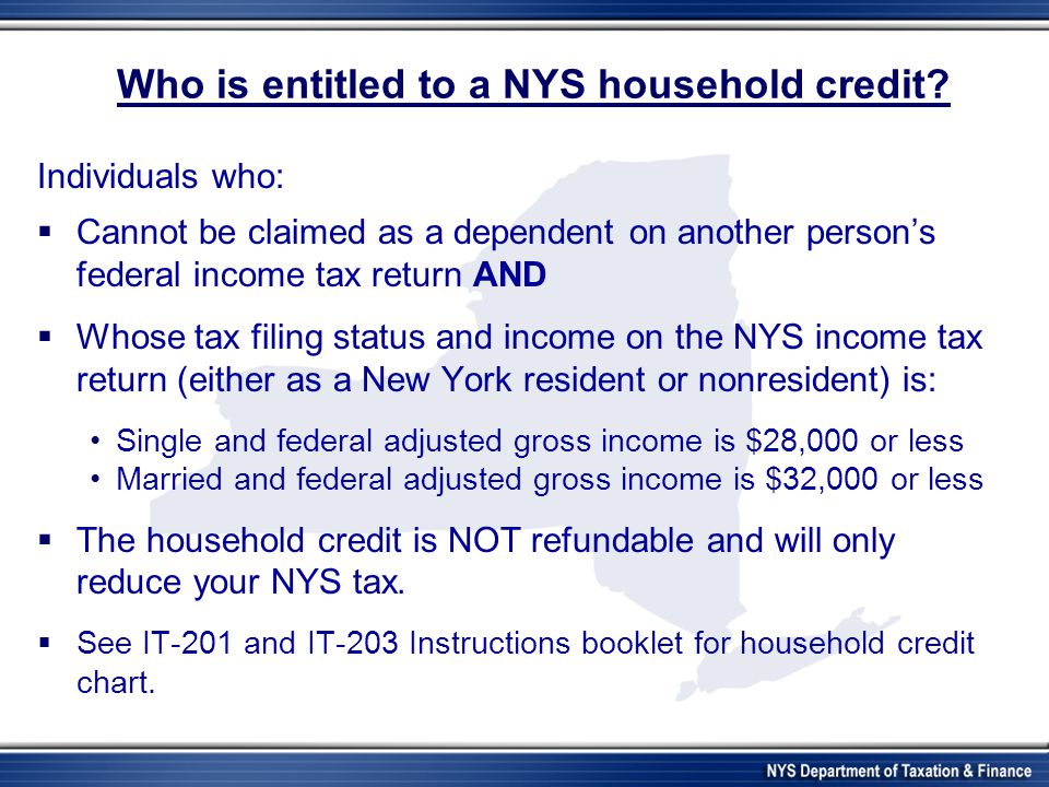 Who is entitled to a NYS household credit.
