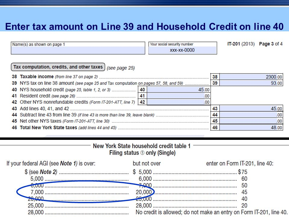 Enter tax amount on Line 39 and Household Credit on line 40