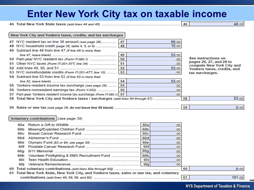 Enter New York City tax on taxable income