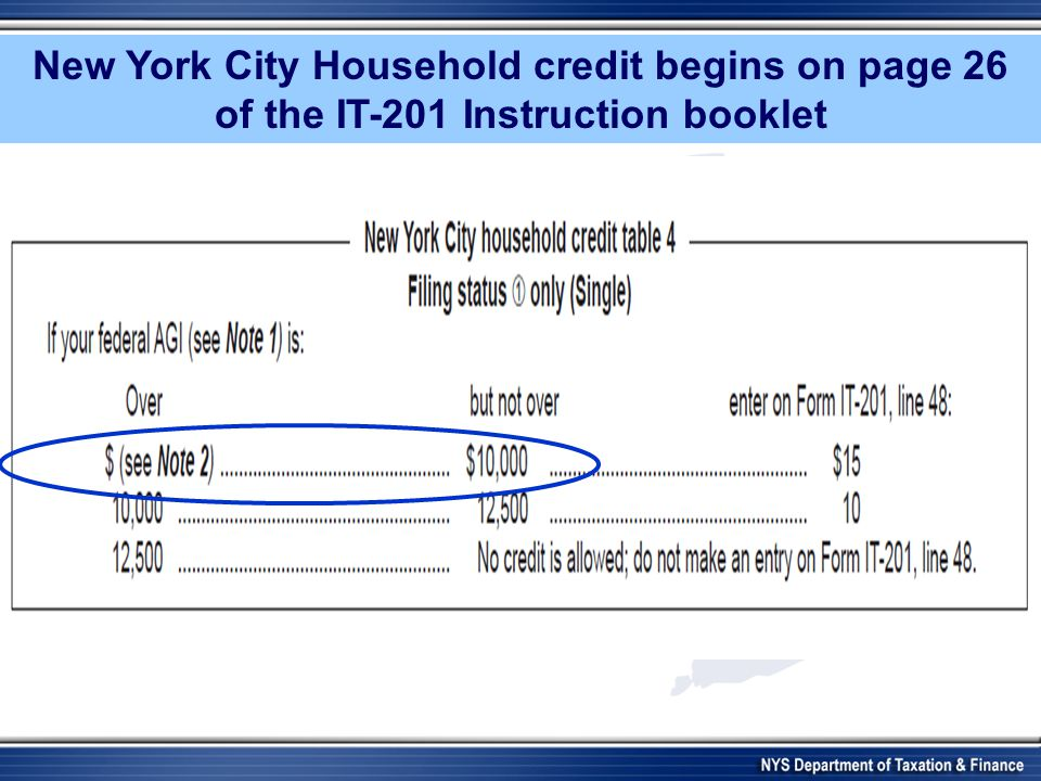 New York City Household credit begins on page 26 of the IT-201 Instruction booklet