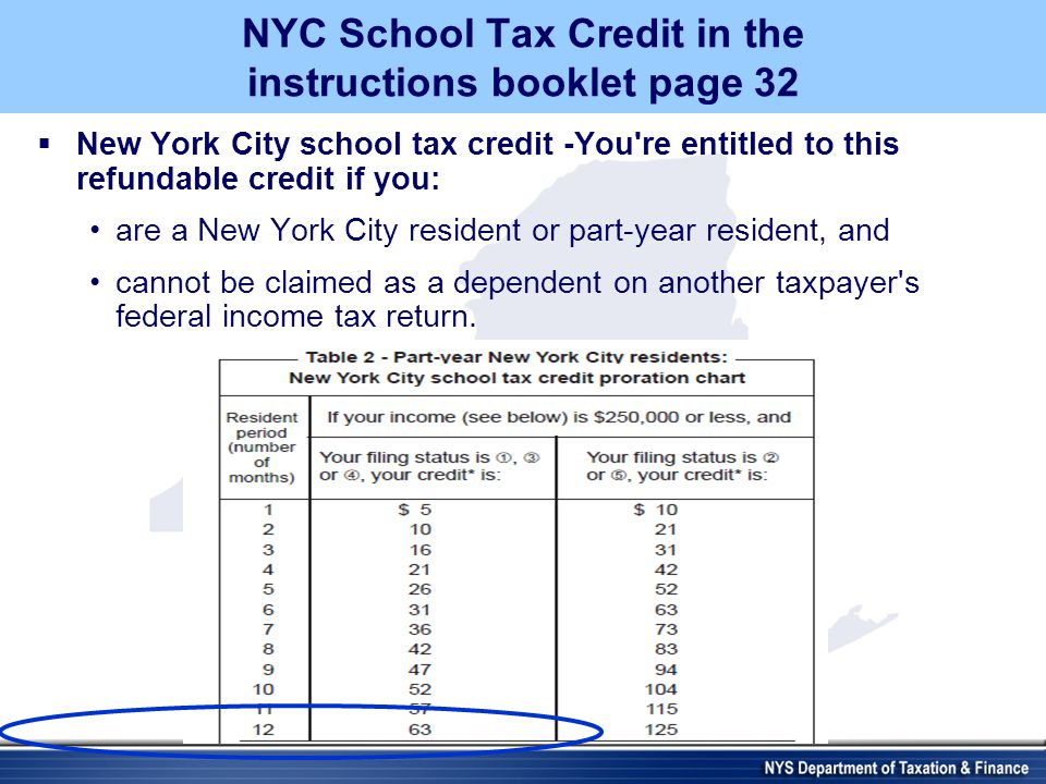 NYC School Tax Credit in the instructions booklet page 32  New York City school tax credit -You re entitled to this refundable credit if you: are a New York City resident or part-year resident, and cannot be claimed as a dependent on another taxpayer s federal income tax return.
