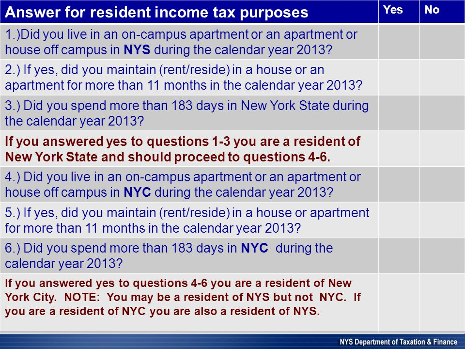 Answer for resident income tax purposes YesNo 1.)Did you live in an on-campus apartment or an apartment or house off campus in NYS during the calendar year 2013.