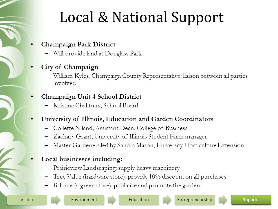 Local & National Support Champaign Park District – Will provide land at Douglass Park City of Champaign – William Kyles, Champaign County Representati
