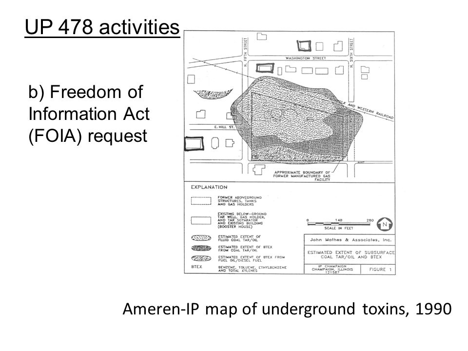 Ameren-IP map of underground toxins, 1990 b) Freedom of Information Act (FOIA) request UP 478 activities