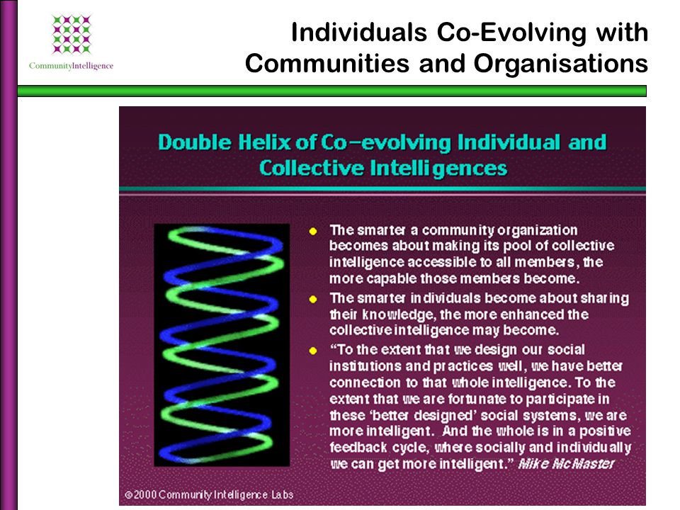 Individuals Co-Evolving with Communities and Organisations