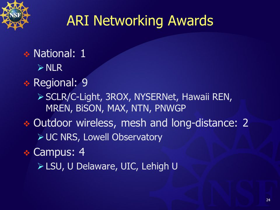 24 ARI Networking Awards  National: 1  NLR  Regional: 9  SCLR/C-Light, 3ROX, NYSERNet, Hawaii REN, MREN, BiSON, MAX, NTN, PNWGP  Outdoor wireless, mesh and long-distance: 2  UC NRS, Lowell Observatory  Campus: 4  LSU, U Delaware, UIC, Lehigh U