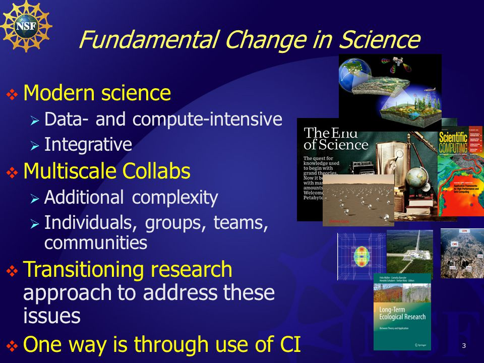 3 Fundamental Change in Science  Modern science  Data- and compute-intensive  Integrative  Multiscale Collabs  Additional complexity  Individuals, groups, teams, communities  Transitioning research approach to address these issues  One way is through use of CI