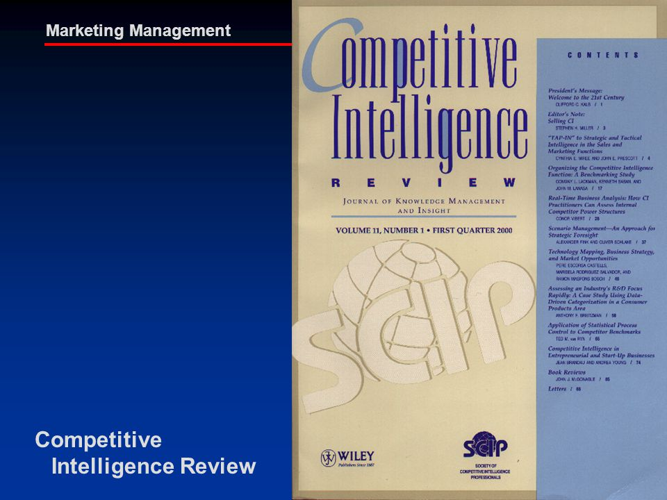 Paul Dishman, Ph.D. Marketing Management Competitive Intelligence Review