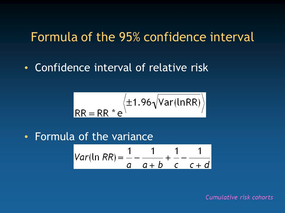Take home messages The 95% confidence interval generates a range of measures of association within which 95% of the values will fall Three main methods are available, with an increasing degree of risk of alpha error (and decreasing degree of risk of beta error) Statistical calculators (e.g., Epi-Info Statcalc) allow these calculations from a 2x2 table