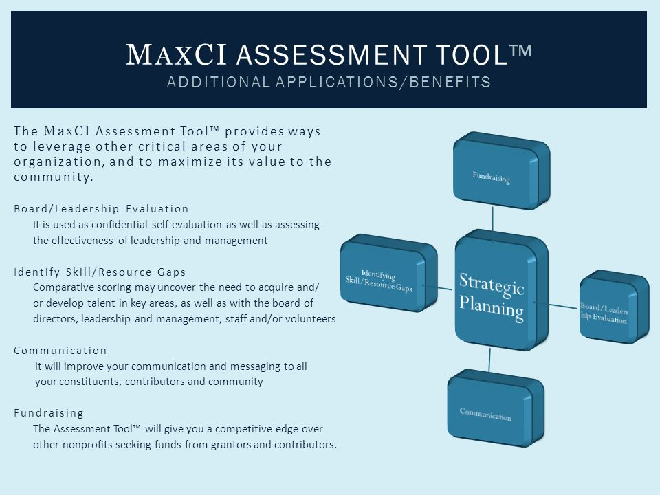 The MaxCI Assessment Tool™ provides ways to leverage other critical areas of your organization, and to maximize its value to the community. Board/Lead