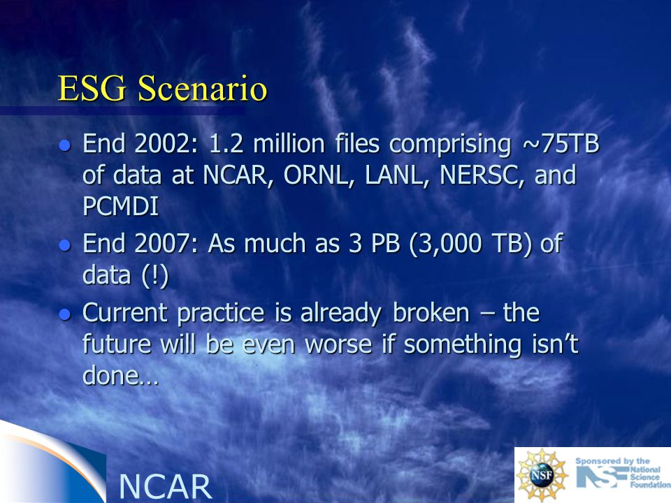 ESG Scenario l End 2002: 1.2 million files comprising ~75TB of data at NCAR, ORNL, LANL, NERSC, and PCMDI l End 2007: As much as 3 PB (3,000 TB) of data (!) l Current practice is already broken – the future will be even worse if something isn't done…