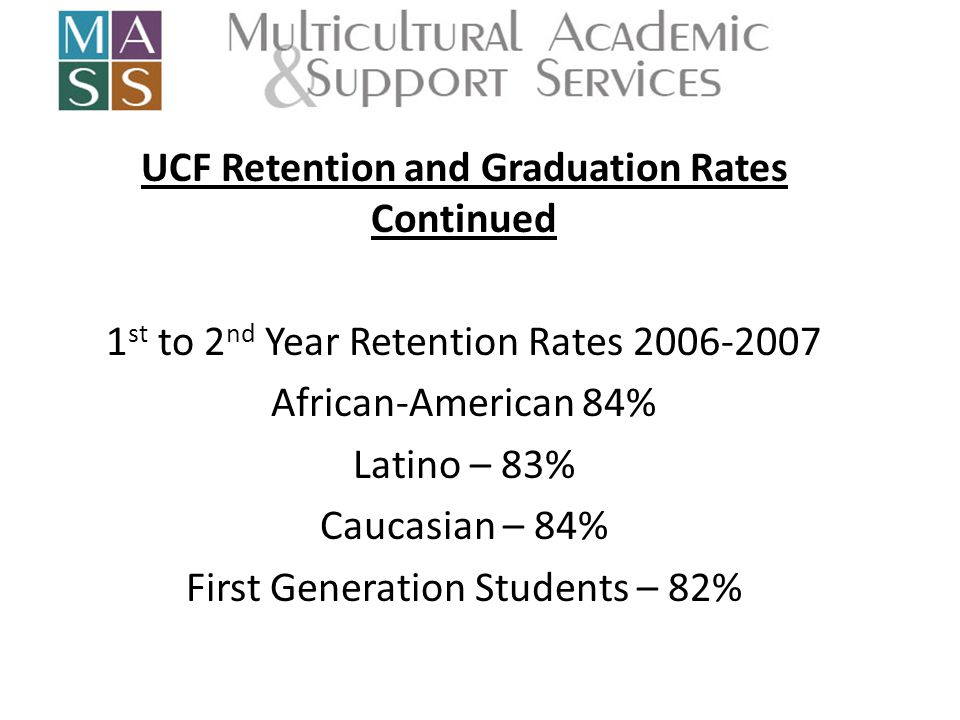 UCF Retention and Graduation Rates Continued 1 st to 2 nd Year Retention Rates 2006-2007 African-American 84% Latino – 83% Caucasian – 84% First Generation Students – 82%