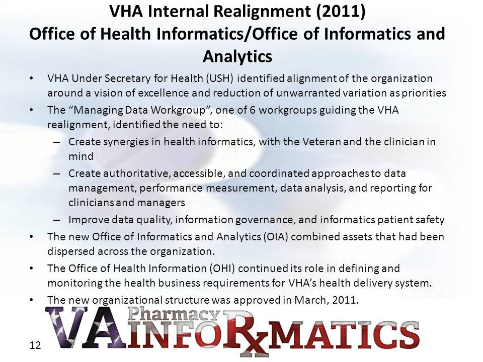 VHA Internal Realignment (2011) Office of Health Informatics/Office of Informatics and Analytics VHA Under Secretary for Health (USH) identified align