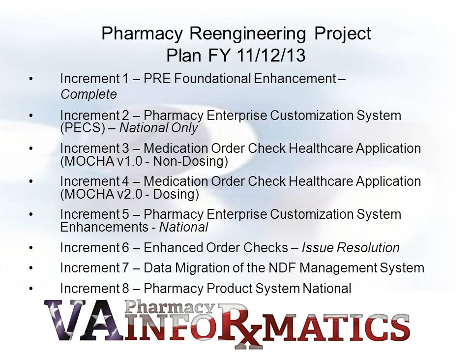 Pharmacy Reengineering Project Plan FY 11/12/13 Increment 1 – PRE Foundational Enhancement – Complete Increment 2 – Pharmacy Enterprise Customization