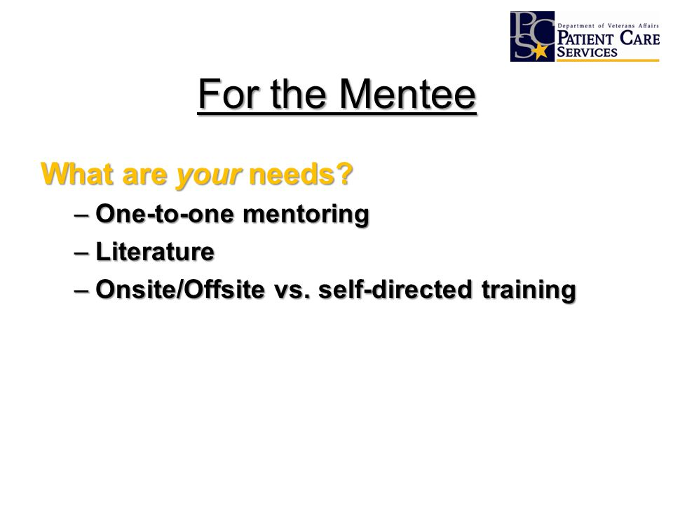 For the Mentee What are your needs? –One-to-one mentoring –Literature –Onsite/Offsite vs. self-directed training