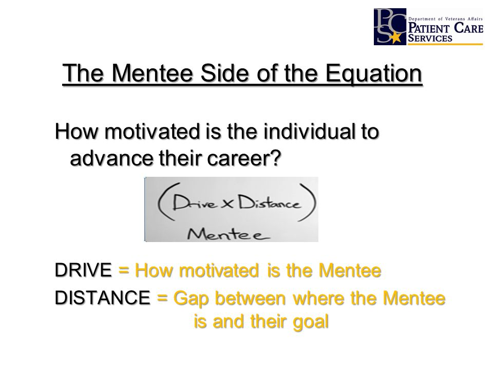 The Mentee Side of the Equation How motivated is the individual to advance their career? DRIVE = How motivated is the Mentee DISTANCE = Gap between wh