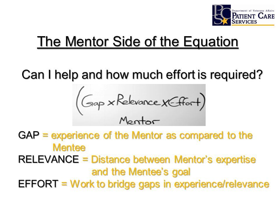 The Mentor Side of the Equation Can I help and how much effort is required.