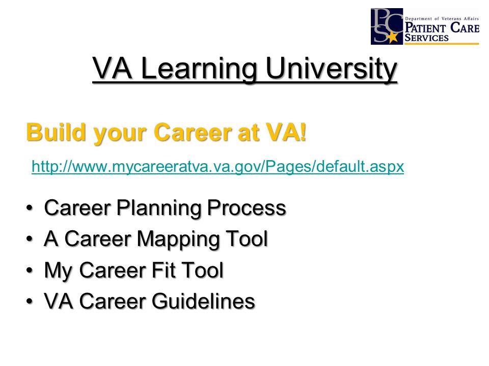 VA Learning University Build your Career at VA! http://www.mycareeratva.va.gov/Pages/default.aspx Career Planning ProcessCareer Planning Process A Car