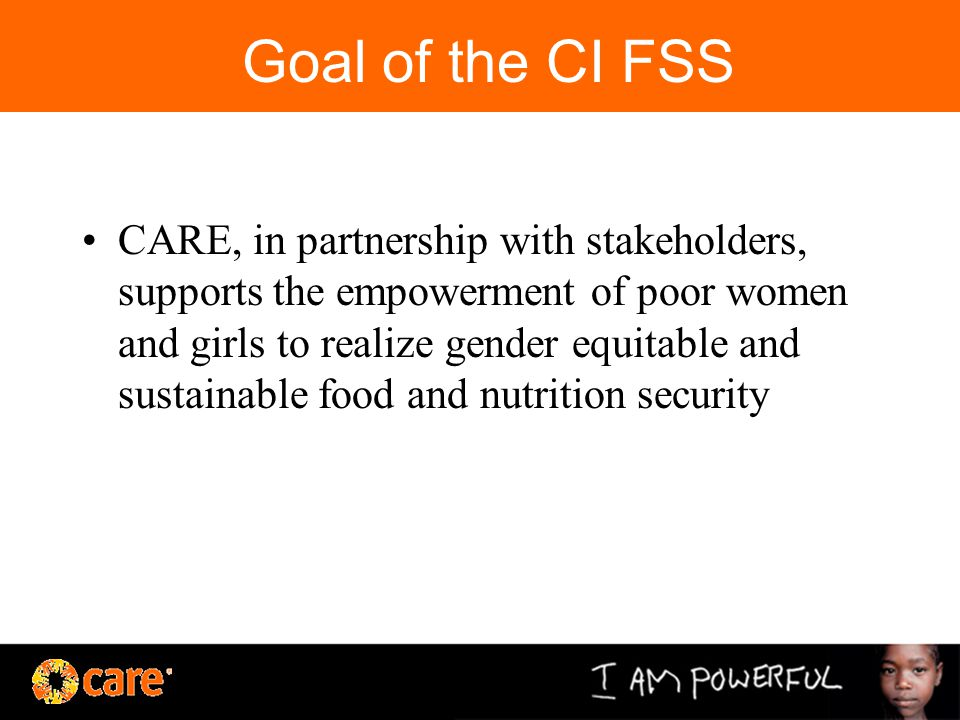 Goal of the CI FSS CARE, in partnership with stakeholders, supports the empowerment of poor women and girls to realize gender equitable and sustainable food and nutrition security