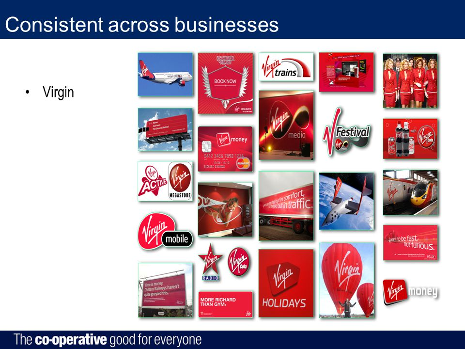 Consistent across businesses Virgin