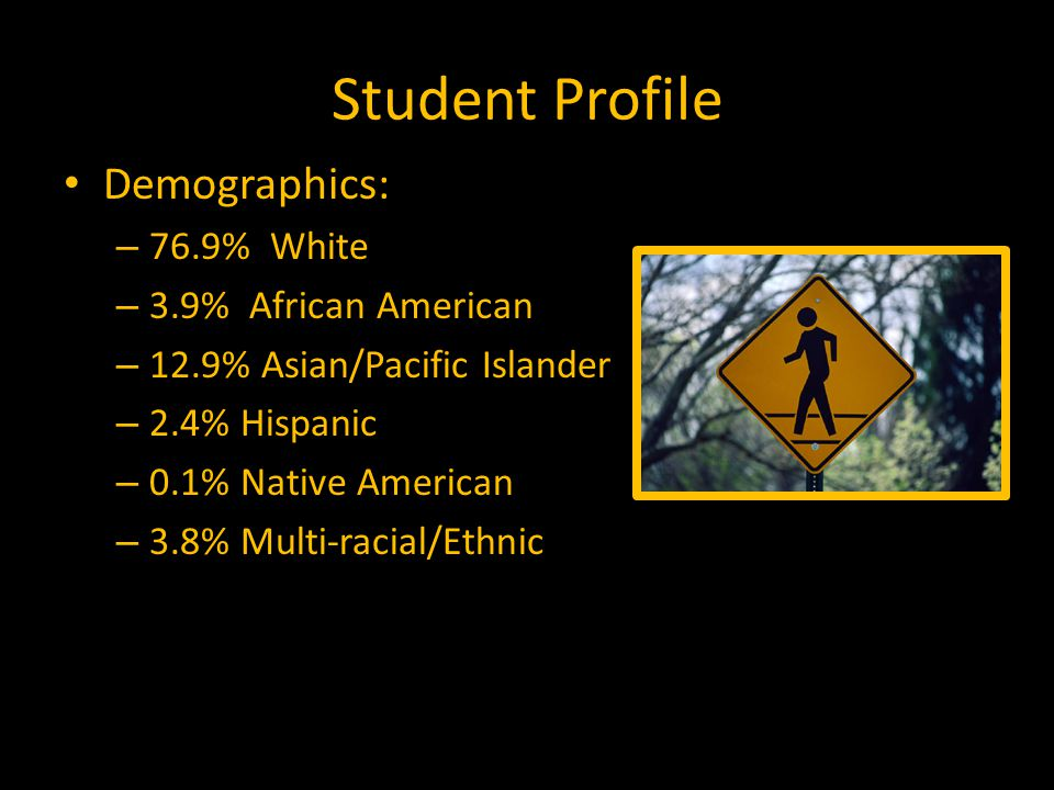 Student Profile Demographics: – 76.9% White – 3.9% African American – 12.9% Asian/Pacific Islander – 2.4% Hispanic – 0.1% Native American – 3.8% Multi-racial/Ethnic