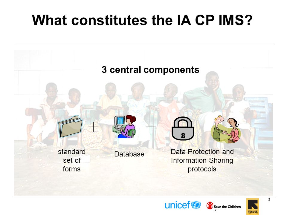 3 central components 3 standard set of forms Data Protection and Information Sharing protocols Database What constitutes the IA CP IMS?