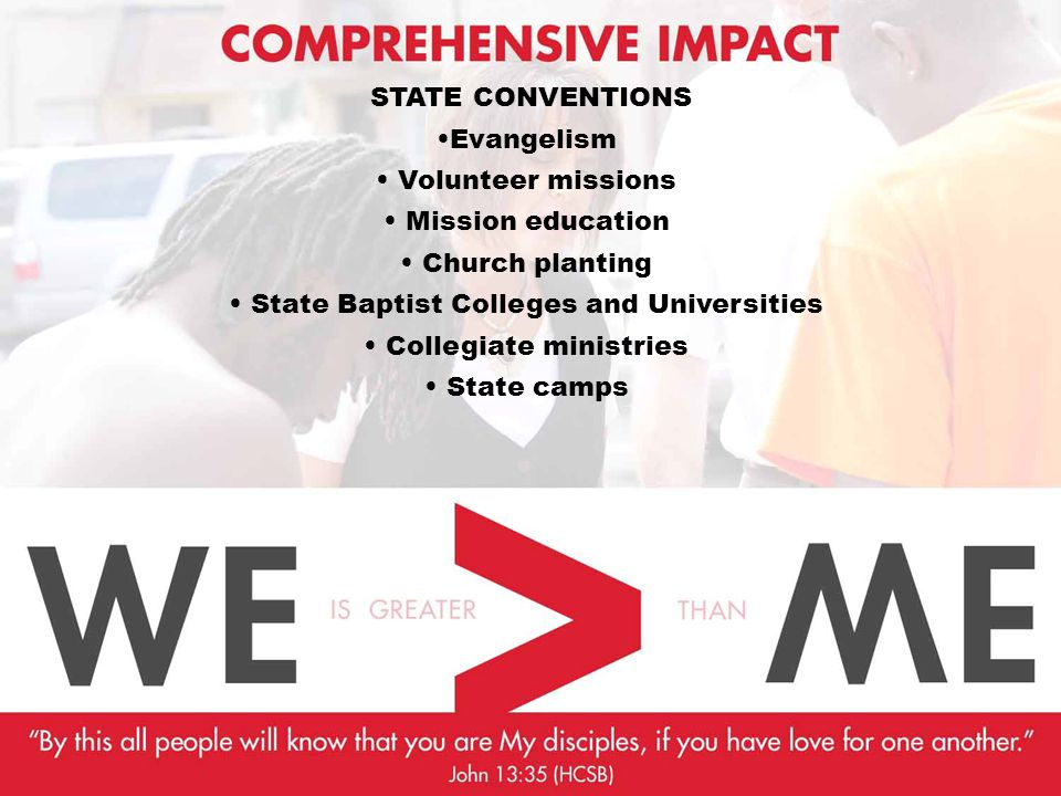 STATE CONVENTIONS Evangelism Volunteer missions Mission education Church planting State Baptist Colleges and Universities Collegiate ministries State camps