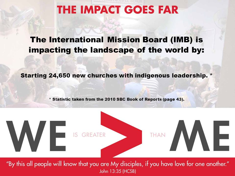 The International Mission Board (IMB) is impacting the landscape of the world by: Starting 24,650 new churches with indigenous leadership.