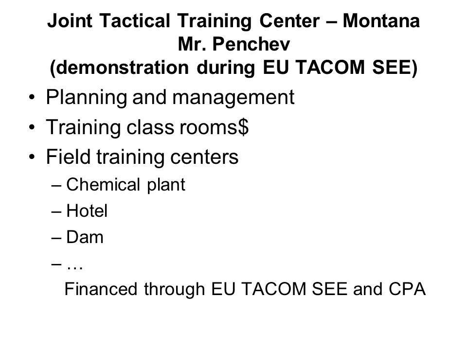 Joint Tactical Training Center – Montana Mr.