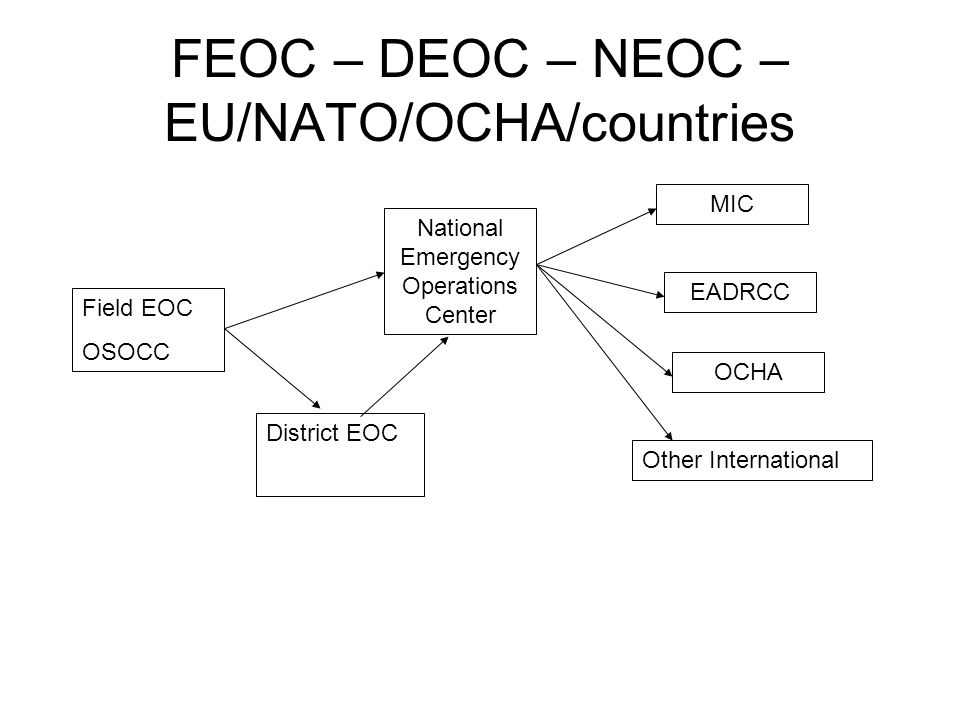 FEOC – DEOC – NEOC – EU/NATO/OCHA/countries Field EOC OSOCC District EOC National Emergency Operations Center MIC EADRCC OCHA Other International