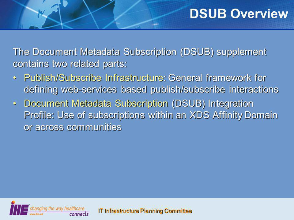 IT Infrastructure Planning Committee DSUB Overview The Document Metadata Subscription (DSUB) supplement contains two related parts: Publish/Subscribe