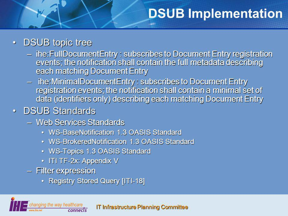 IT Infrastructure Planning Committee DSUB Implementation DSUB topic treeDSUB topic tree –ihe:FullDocumentEntry : subscribes to Document Entry registra