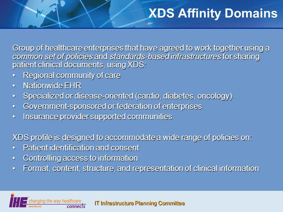 IT Infrastructure Planning Committee XDS Affinity Domains Group of healthcare enterprises that have agreed to work together using a common set of poli