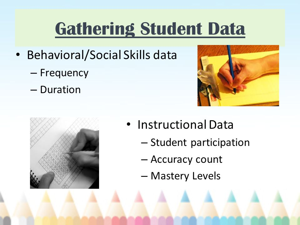 Gathering Student Data Behavioral/Social Skills data – Frequency – Duration Instructional Data – Student participation – Accuracy count – Mastery Levels