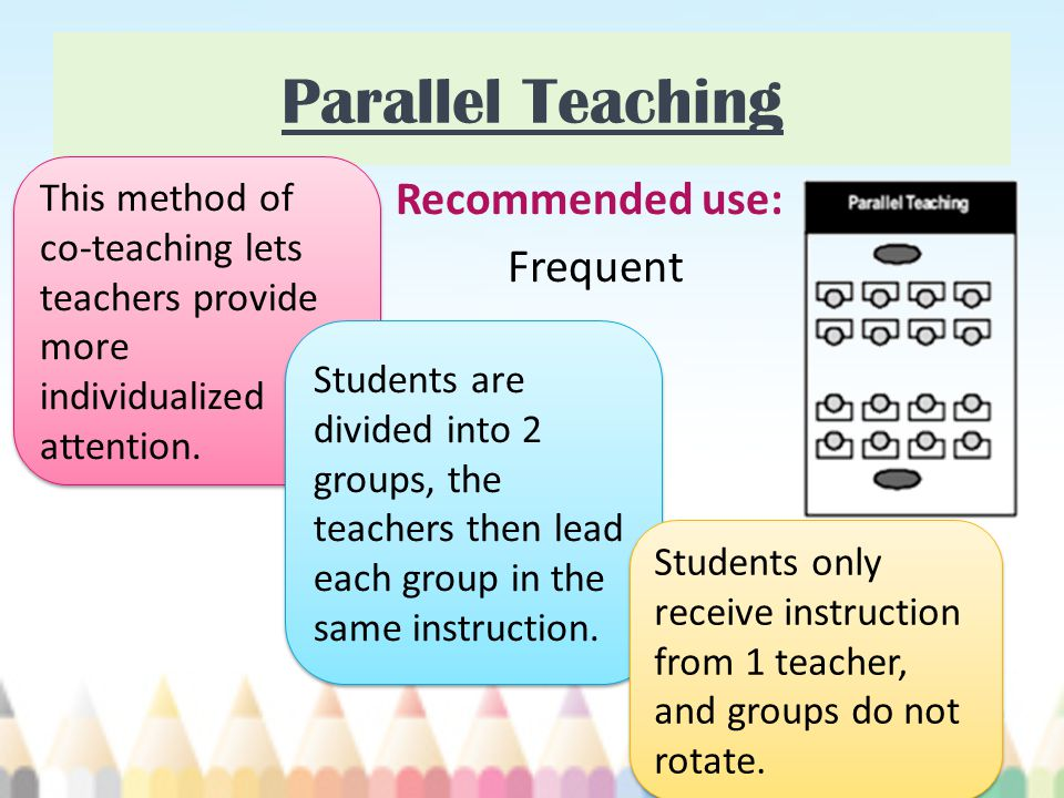 Parallel Teaching Recommended use: Frequent This method of co-teaching lets teachers provide more individualized attention. Students are divided into