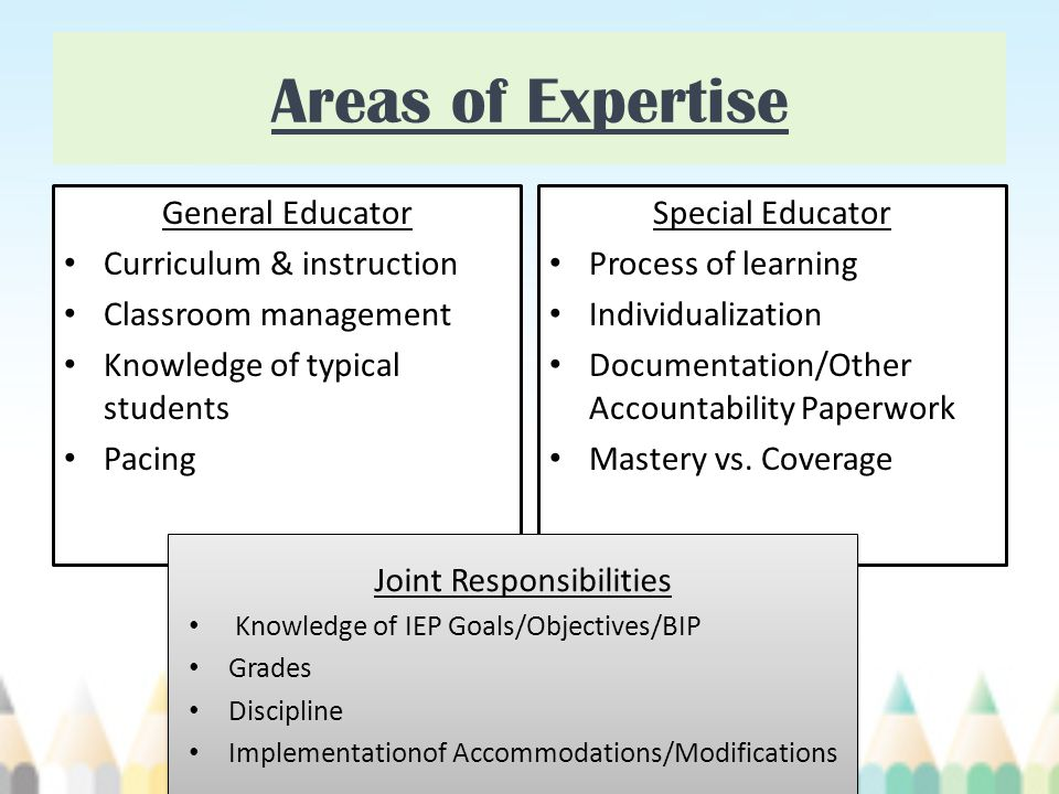 Areas of Expertise General Educator Curriculum & instruction Classroom management Knowledge of typical students Pacing Special Educator Process of learning Individualization Documentation/Other Accountability Paperwork Mastery vs.