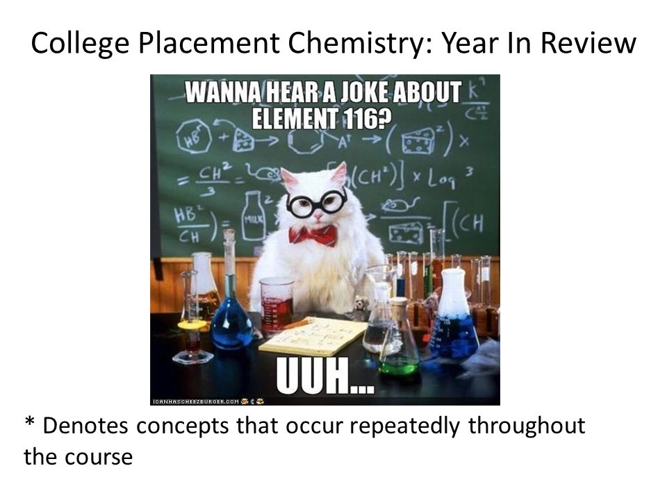 College Placement Chemistry: Year In Review * Denotes concepts that occur repeatedly throughout the course