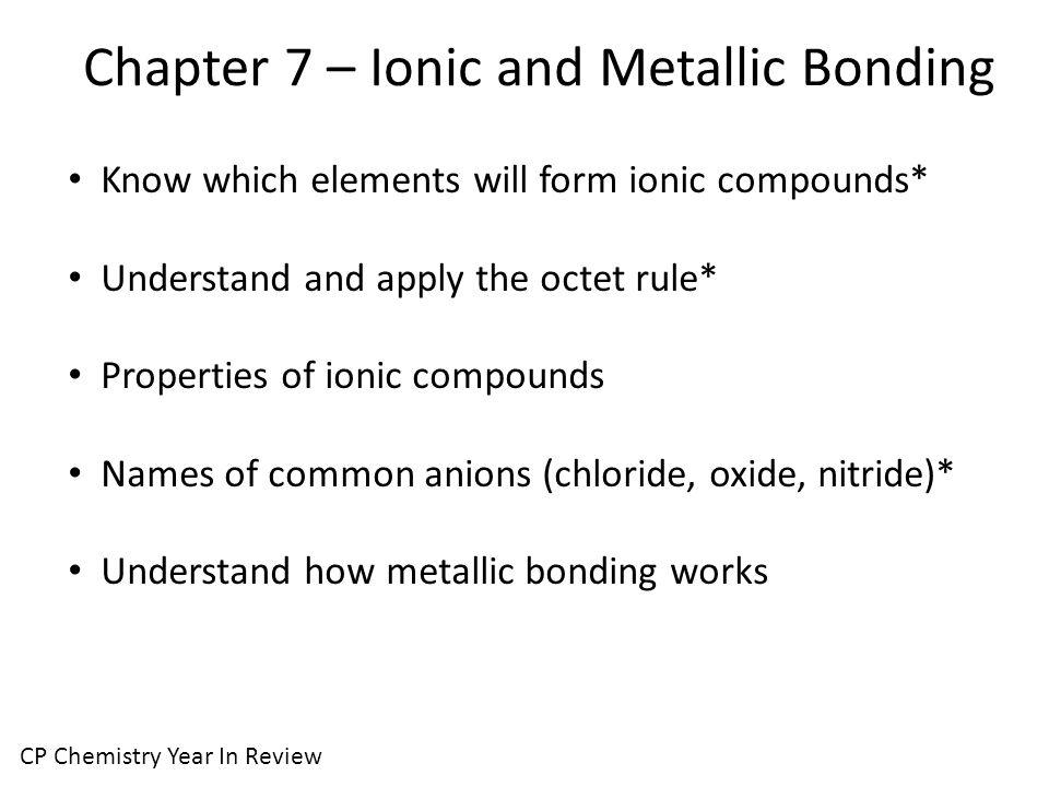 Chapter 7 – Ionic and Metallic Bonding CP Chemistry Year In Review Know which elements will form ionic compounds* Understand and apply the octet rule* Properties of ionic compounds Names of common anions (chloride, oxide, nitride)* Understand how metallic bonding works