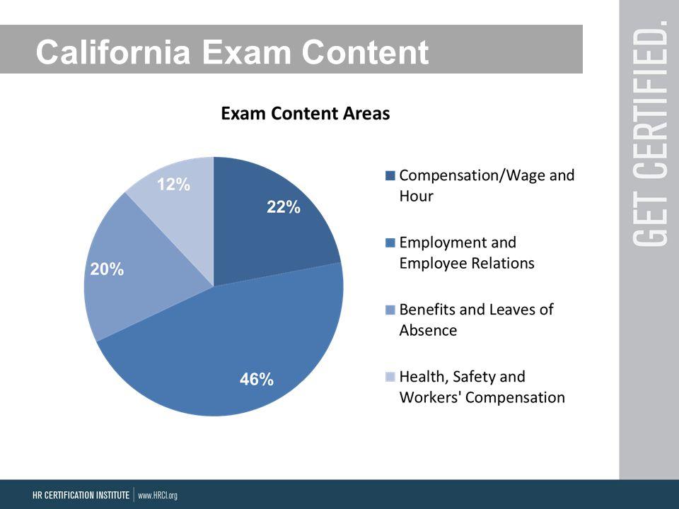 California Exam Content