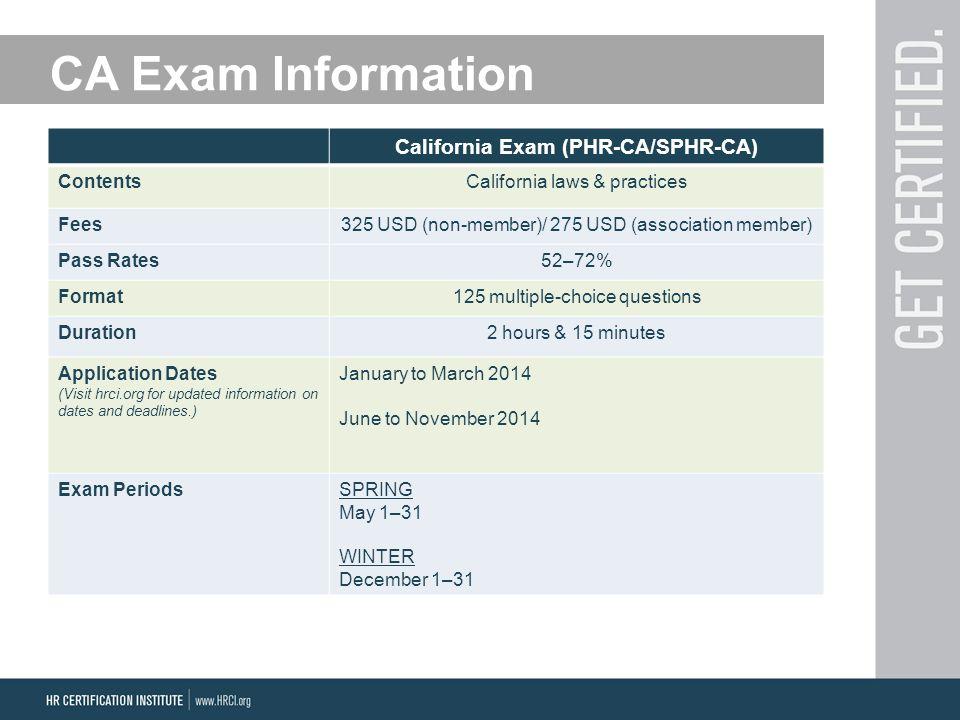 California Exam (PHR-CA/SPHR-CA) ContentsCalifornia laws & practices Fees325 USD (non-member)/ 275 USD (association member) Pass Rates52–72% Format125