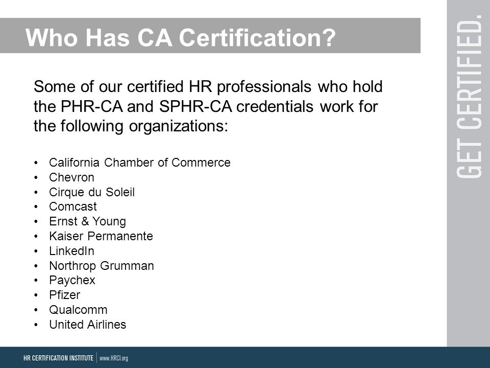 Who Has CA Certification.