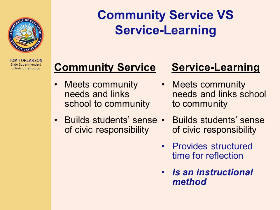 TOM TORLAKSON State Superintendent of Public Instruction Community Service VS Service-Learning Service-Learning Meets community needs and links school to community Builds students' sense of civic responsibility Provides structured time for reflection Is an instructional method Community Service Meets community needs and links school to community Builds students' sense of civic responsibility