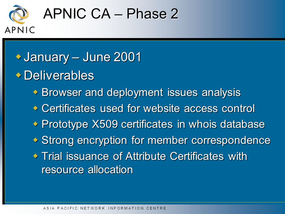 A S I A P A C I F I C N E T W O R K I N F O R M A T I O N C E N T R E APNIC CA – Phase 2  January – June 2001  Deliverables  Browser and deployment issues analysis  Certificates used for website access control  Prototype X509 certificates in whois database  Strong encryption for member correspondence  Trial issuance of Attribute Certificates with resource allocation