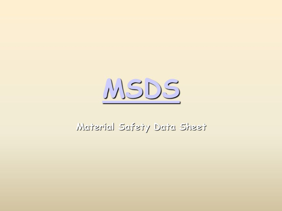 MSDS Material Safety Data Sheet